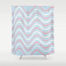 Retro Waves Design Shower Curtain