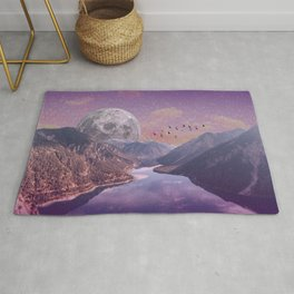 Moon Rise Over the Mountains Rug