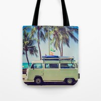 vw bus Tote Bags featuring VW Bus Beach Vacation by Limitless Design