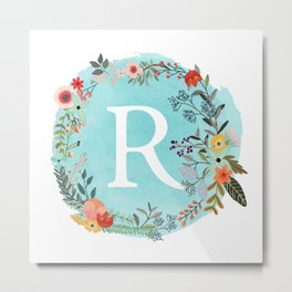 Personalized Monogram Initial Letter R Blue Watercolor Flower Wreath Artwork Metal Print