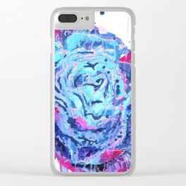 Weeping Blue Rose Clear iPhone Case