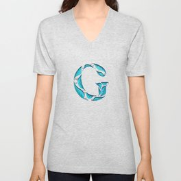 Drop Cap G - Cut Out Leaves - Hand Lettering - Typography - Nature  Unisex V-Neck