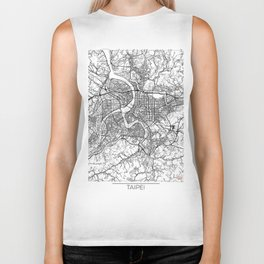 Taipei Map White Biker Tank