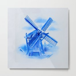 Drawing Delft-Style Windmill Metal Print
