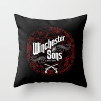 winchester Throw Pillows featuring Winchester & Sons by Manny Peters Art & Design
