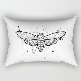 Moth Handmade Drawing, Made in pencil and ink, Tattoo Sketch, Tattoo Flash, Blackwork Rectangular Pillow