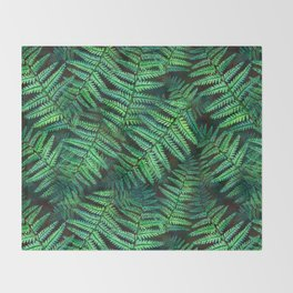 Among the Fern in the Forest Throw Blanket