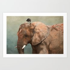 Brotherly- elephant and owl Art Print