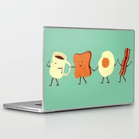yellow pattern Laptop & iPad Skins featuring Let's All Go And Have Breakfast by Teo Zirinis