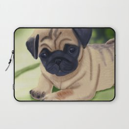 Cute pug on green sofa Laptop Sleeve