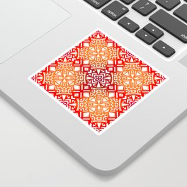 Tribal Tiles II (Red, Orange, Brown) Geometric Sticker