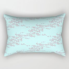 Cedar Waxwings in a Pear Tree with Nest - Mint and Silver Rectangular Pillow