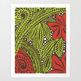 Polynesian flower floral green red tattoo design Art Print