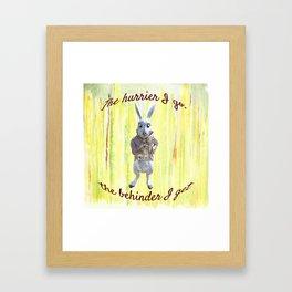 White Rabbit shares his wisdom Framed Art Print