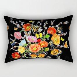 Black Butterfly Bouquet  Rectangular Pillow