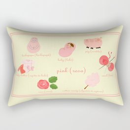 Colors: pink (Los colores: rosa) Rectangular Pillow