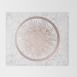 Rose Gold Nature Mandala on Marble Throw Blanket