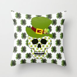 St Paddys Skull - St Patrick's Day Throw Pillow