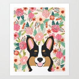 Tricolored Corgi cute corgi florals dog portrait custom dog art pet friendly dog head cell case Art Print