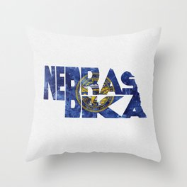 Nebraska Typographic Flag Map Art Throw Pillow
