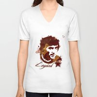 coffe V-neck T-shirts featuring George Best - coffe stained by Colo Design