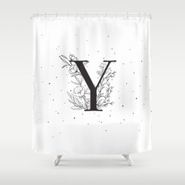Black Letter Y Monogram / Initial Botanical Illustration Shower Curtain