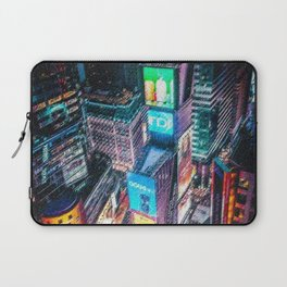 Times Square Nighttime Landscape Painting by Jeanpaul Ferro Laptop Sleeve