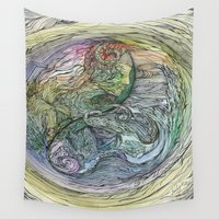 ying yang Wall Tapestries featuring Earth Ying and Waters Yang  by KateBuchan