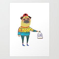 Gin Pug. Pug art, gin art. Art Print