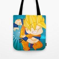 goku Tote Bags featuring Goku SSJ  by Juan David Giraldo Ramirez