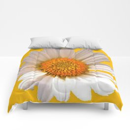 DECORATIVE MUSTARD YELLOW MODERN DAISY ART Comforters