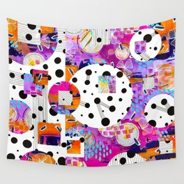 Pink, purple, orange and blue abstract polk a dot digital art Wall Tapestry