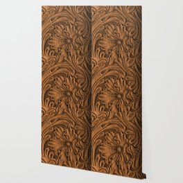 Golden Tanned Tooled Leather Wallpaper
