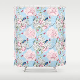 Bluebirds and Watercolor roses on pale blue with white French script Shower Curtain