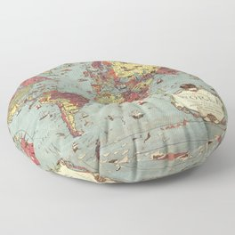 1931 Vintage Map of the World Floor Pillow