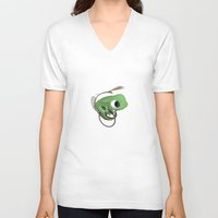 frog V-neck T-shirts featuring Frog by Flewn