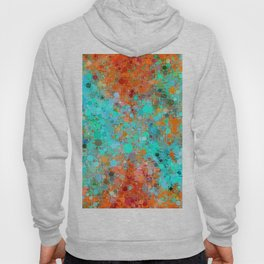 psychedelic geometric circle pattern and square pattern abstract in orange and blue Hoody