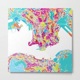 Hong Kong Colorful Map Metal Print