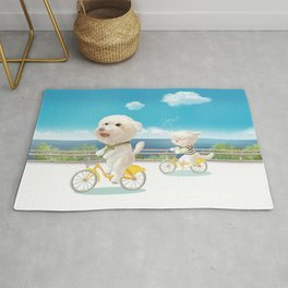 Cat and dog riding bicycle Rug