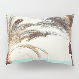 Modern California Vibes pink sky blue seascape tropical palm tree beach photography Pillow Sham