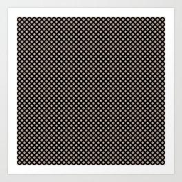 Black and Champagne Beige Polka Dots Art Print