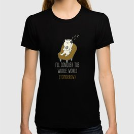 I'll Conquer The Whole World Music Lovers Cat Kittens Owners Feline Mammal Kitty Animal Lovers Gift T-shirt