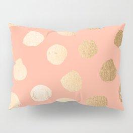 Sweet Life Polka Dots Peach Coral + Orange Sherbet Shimmer Pillow Sham
