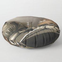 Pieter Claesz. - Still Life with a Stoneware Jug, Berkemeyer, and Smoking Utensils Floor Pillow