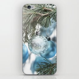 Blue Christmas baubles on tree iPhone Skin