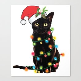 Santa Black Cat Tangled Up In Lights Christmas Santa T-Shirt Canvas Print
