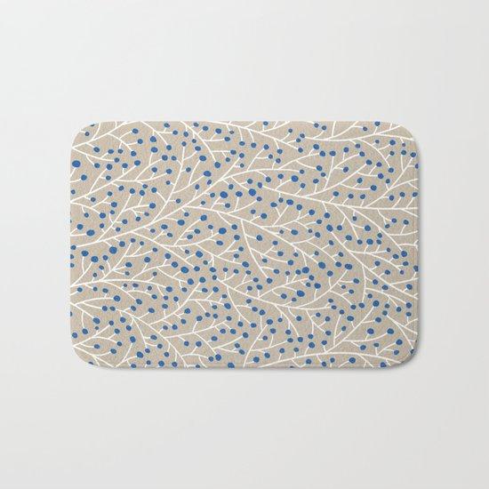 Blue & White Berry Branches Bath Mat