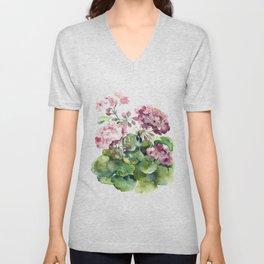 Watercolor pink geranium flowers aquarelle Unisex V-Neck