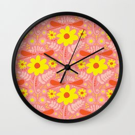 Spring Daisies 002 on Pink Wall Clock