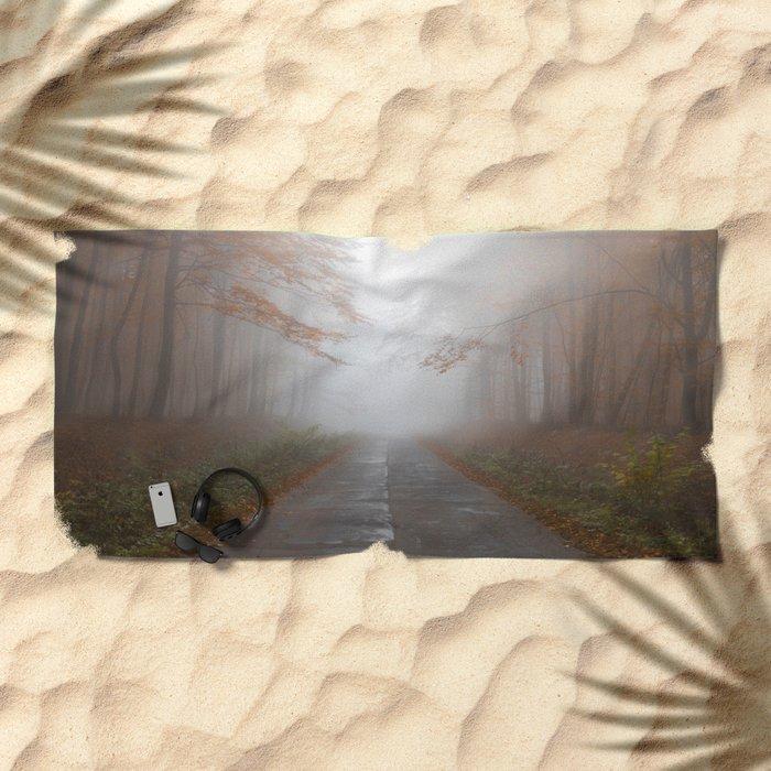 Forest Walk #fog Beach Towel